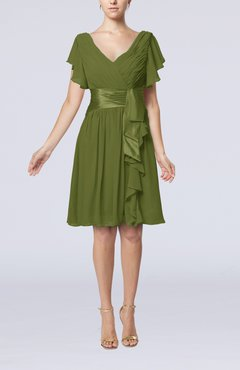 Amazing Olive Green Romantic Short Sleeve Zip Up Knee Length Sash Wedding Guest  Dresses
