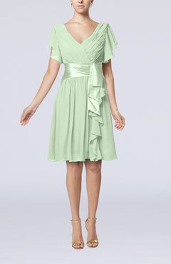 Pale Green Romantic Short Sleeve Zip up Knee Length Sash Wedding Guest Dresses