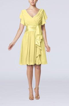 Pastel Yellow Romantic Short Sleeve Zip Up Knee Length Sash Wedding Guest Dresses