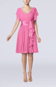 Pink Romantic Short Sleeve Zip up Knee Length Sash Wedding Guest Dresses