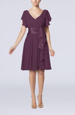 Plum Romantic Short Sleeve Zip up Knee Length Sash Wedding Guest Dresses