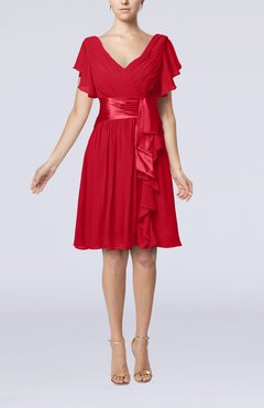 Red Romantic Short Sleeve Zip up Knee Length Sash Wedding Guest Dresses