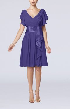 Royal Purple Romantic Short Sleeve Zip up Knee Length Sash Wedding Guest Dresses