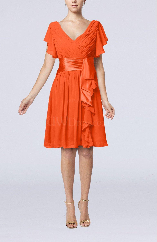 Tangerine Romantic Short Sleeve Zip Up Knee Length Sash