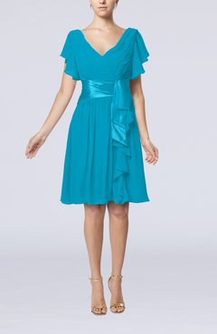 Teal Short Sleeve Zip Up Knee Length Sash Wedding Guest Dresses