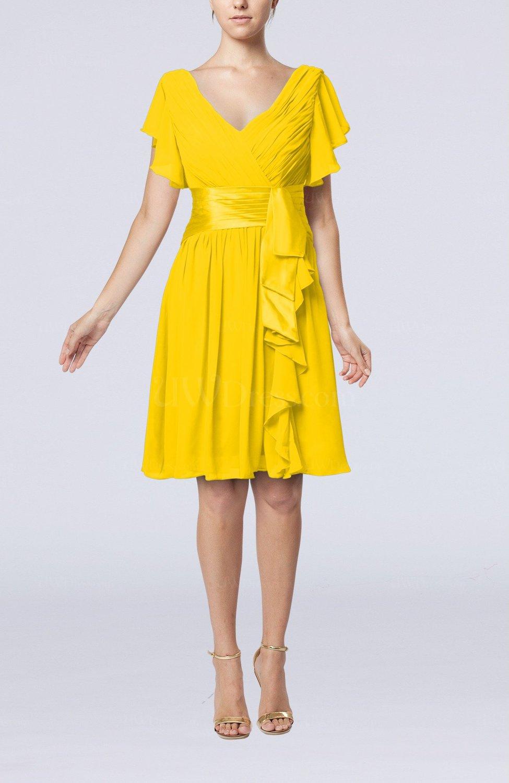Yellow Romantic Short Sleeve Zip Up Knee Length Sash