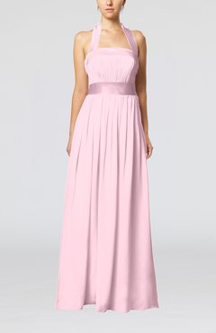 Baby Pink Elegant A-line Sleeveless Chiffon Floor Length Ribbon Wedding Guest Dresses