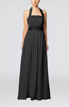 Black Elegant A-line Sleeveless Chiffon Floor Length Ribbon Wedding Guest Dresses