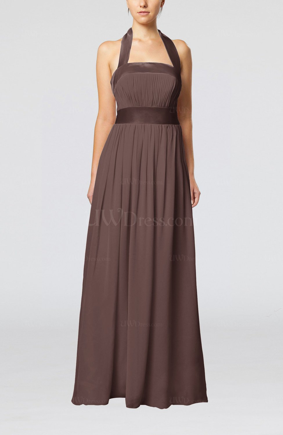 Chocolate brown elegant a line sleeveless chiffon floor for Brown dresses for wedding guest