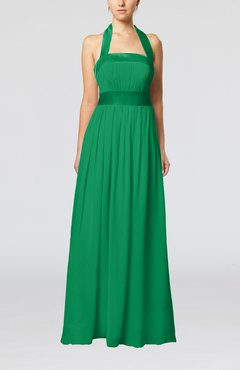 Green Elegant A-line Sleeveless Chiffon Floor Length Ribbon Wedding Guest Dresses