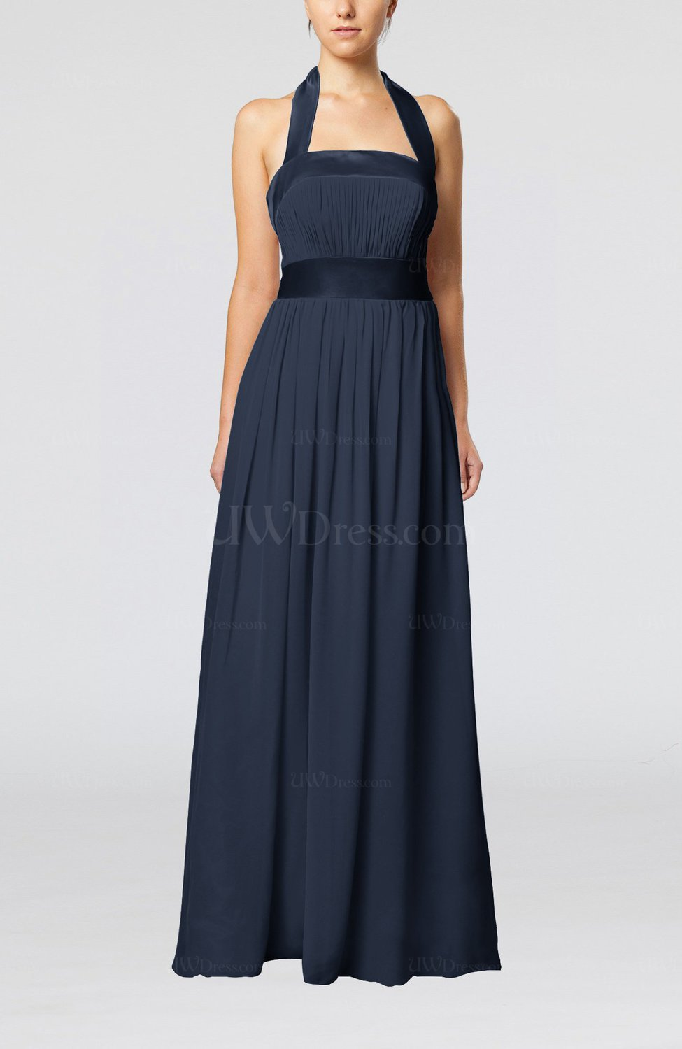 Navy Blue Elegant A Line Sleeveless Chiffon Floor Length