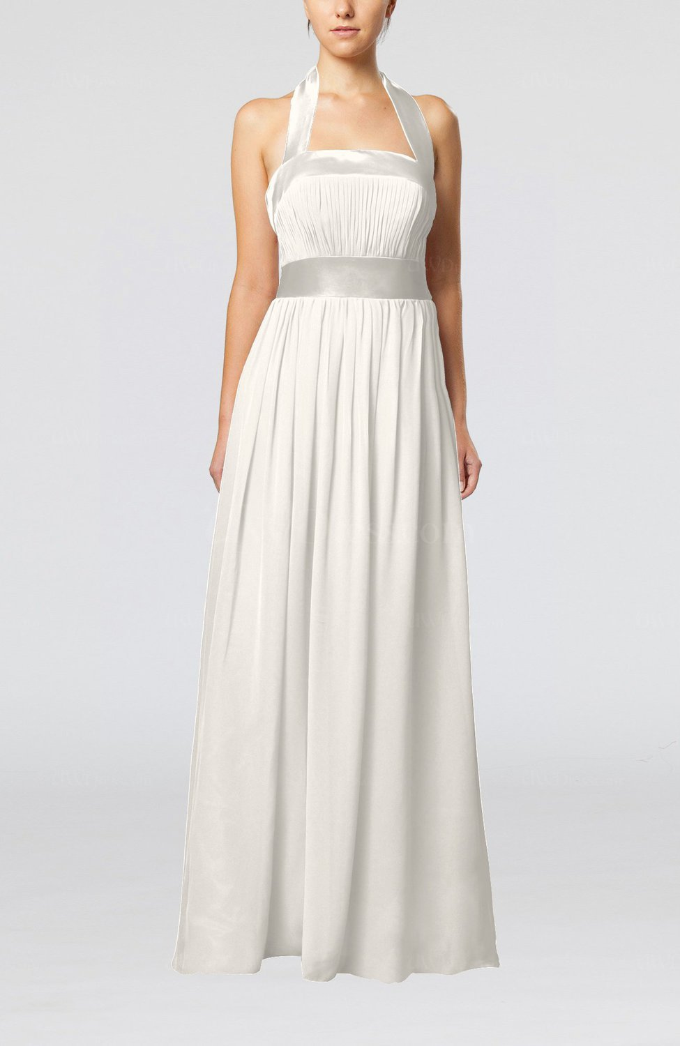 Off white elegant a line sleeveless chiffon floor length for White dresses for wedding guests