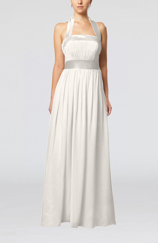 Off white elegant a line sleeveless chiffon floor length for Elegant guest wedding dresses