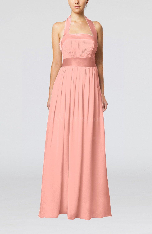 Peach Elegant A-line Sleeveless Chiffon Floor Length Ribbon Wedding ...