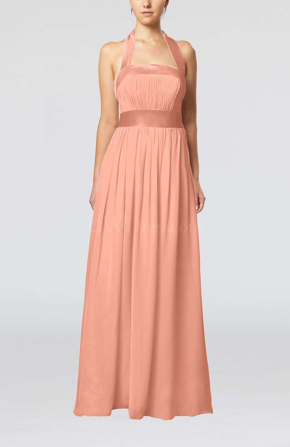 Salmon Elegant A Line Sleeveless Chiffon Floor Length