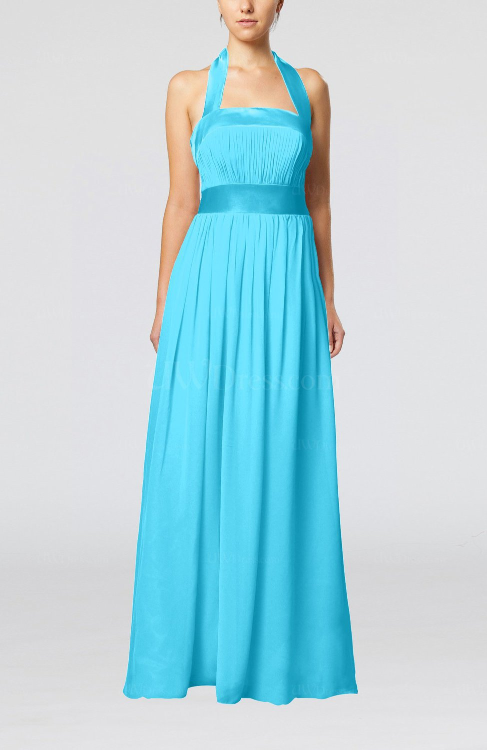 Turquoise elegant a line sleeveless chiffon floor length for Turquoise wedding guest dress