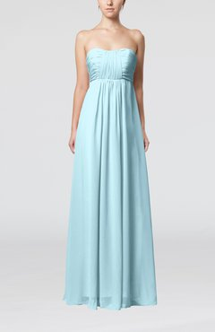 Aqua Plain Empire Sleeveless Zip up Floor Length Wedding Guest Dresses