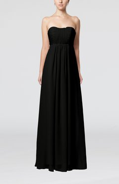 Black Plain Empire Sleeveless Zip up Floor Length Wedding Guest Dresses