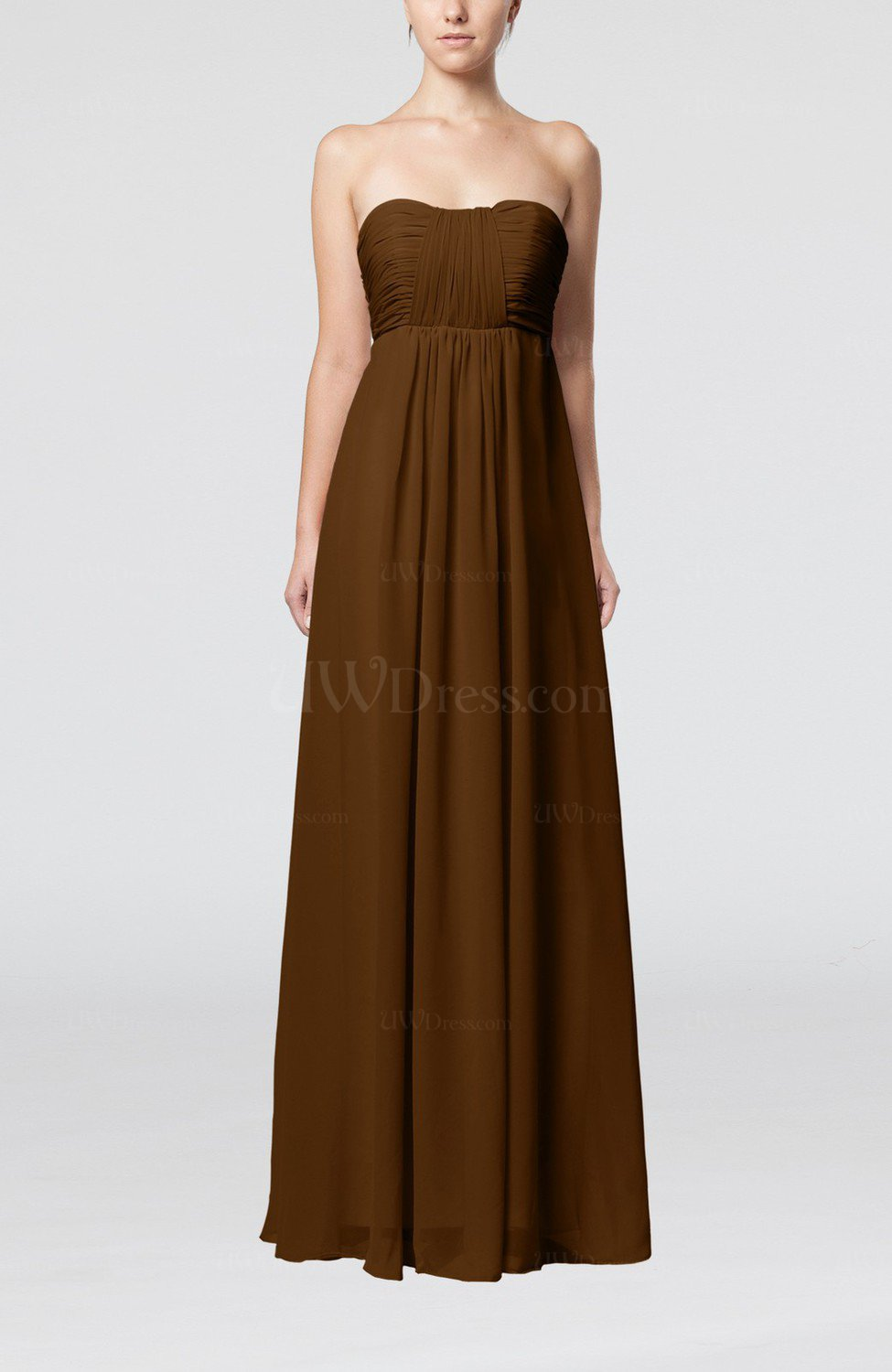 Brown plain empire sleeveless zip up floor length wedding for Brown dresses for wedding guest