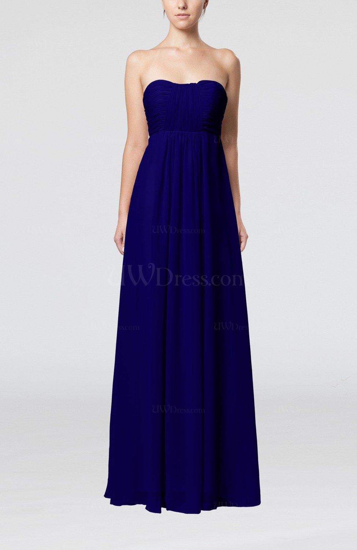 Electric Blue Wedding Guest Dresses : Blue plain empire sleeveless zip up floor length wedding guest dresses