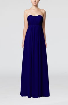 Electric Blue Plain Empire Sleeveless Zip up Floor Length Wedding Guest Dresses