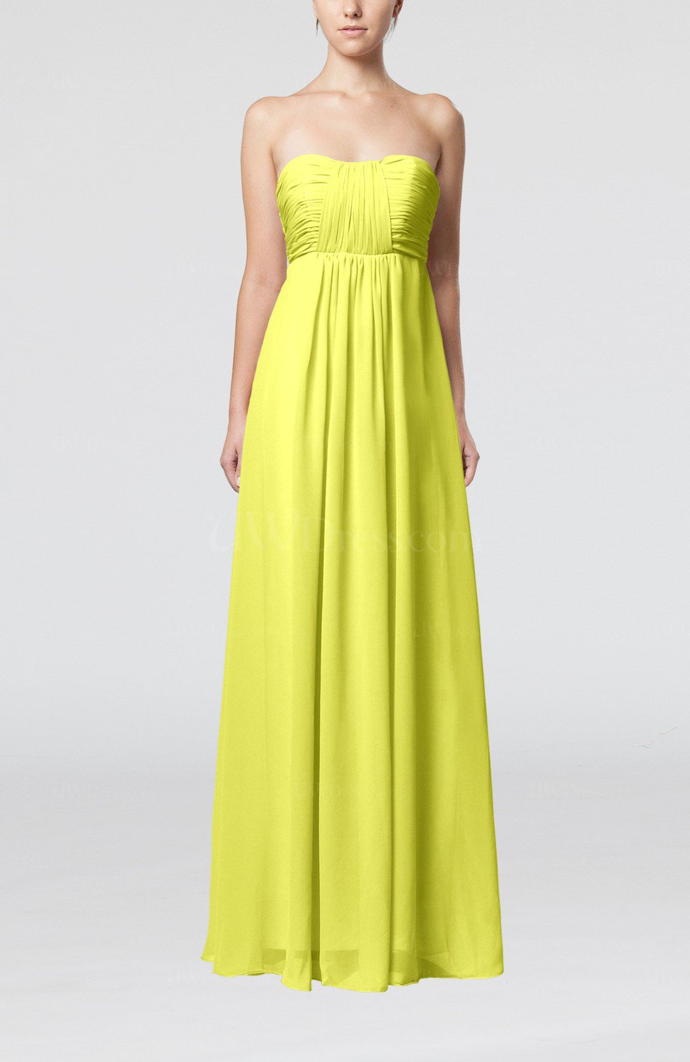 Pale yellow plain empire sleeveless zip up floor length for Yellow dresses for wedding guests