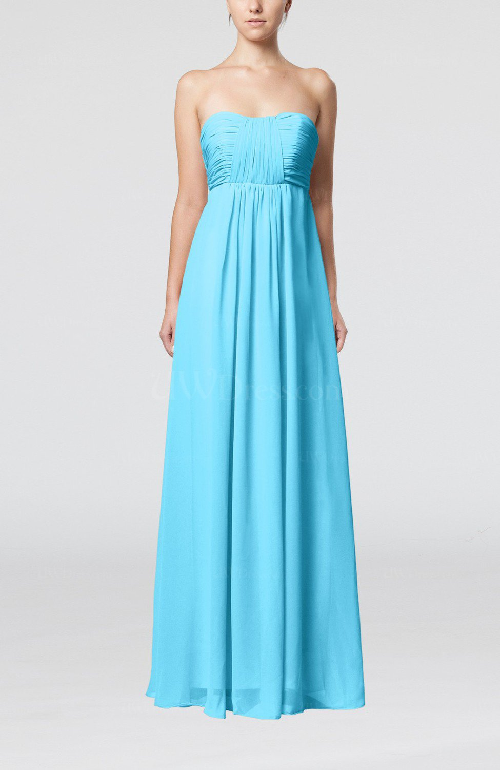 Turquoise plain empire sleeveless zip up floor length for Turquoise wedding guest dress