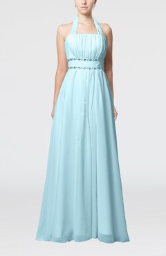 Aqua Elegant Destination Empire Halter Sleeveless Chiffon Floor Length Bridal Gowns