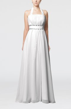White Elegant Destination Empire Halter Sleeveless Chiffon Floor Length Bridal Gowns