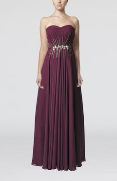 Raspberry Elegant Sweetheart Sleeveless Chiffon Floor Length Bridesmaid Dresses