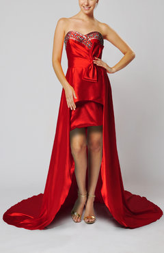 Red Luxury Sweetheart Sleeveless Elastic Woven Satin Bow Party Dresses