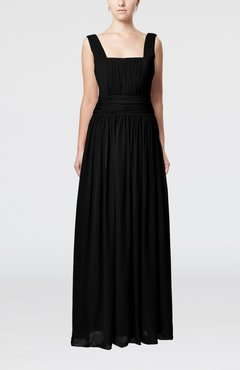 Black Simple Thick Straps Sleeveless Chiffon Ruching Evening Dresses