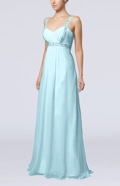 Aqua Simple Hall Empire Thick Straps Floor Length Beaded Bridal Gowns