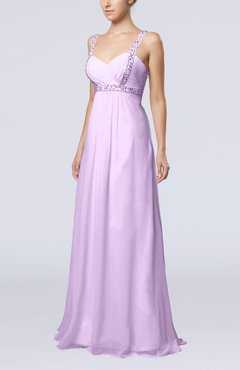 Light Purple Simple Hall Empire Thick Straps Floor Length Beaded Bridal Gowns