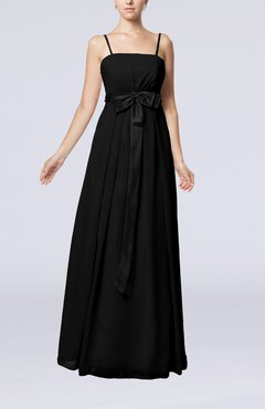 Black Elegant Sleeveless Chiffon Floor Length Ribbon Bridesmaid Dresses