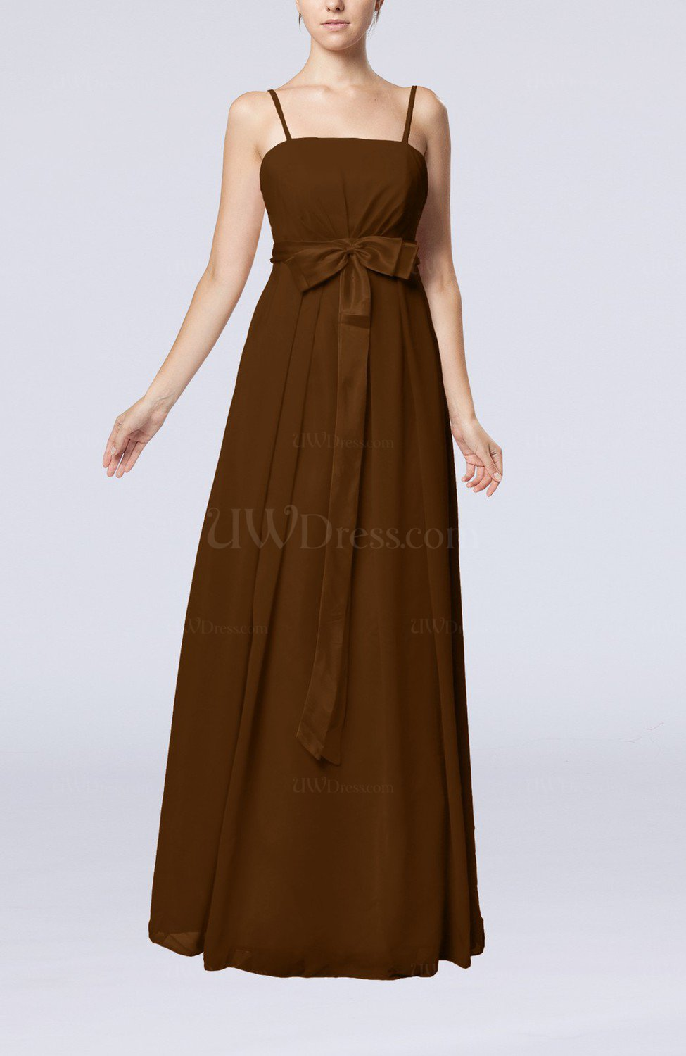 Brown elegant sleeveless chiffon floor length ribbon for Floor length dress
