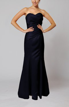 Navy Blue Elegant Sleeveless Backless Floor Length Ruching Bridesmaid Dresses