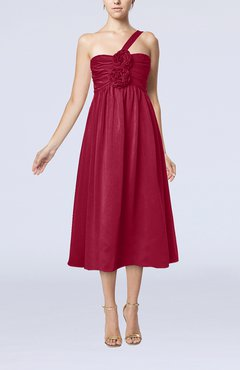 Dark Red Casual One Shoulder Sleeveless Chiffon Pleated Wedding Guest Dresses