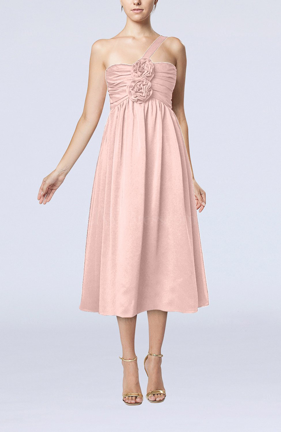 Dusty Rose Casual One Shoulder Sleeveless Chiffon Pleated ...