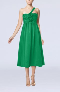 Green Casual One Shoulder Sleeveless Chiffon Pleated Wedding Guest Dresses