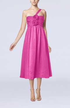 Hot Pink Casual One Shoulder Sleeveless Chiffon Pleated Wedding Guest Dresses