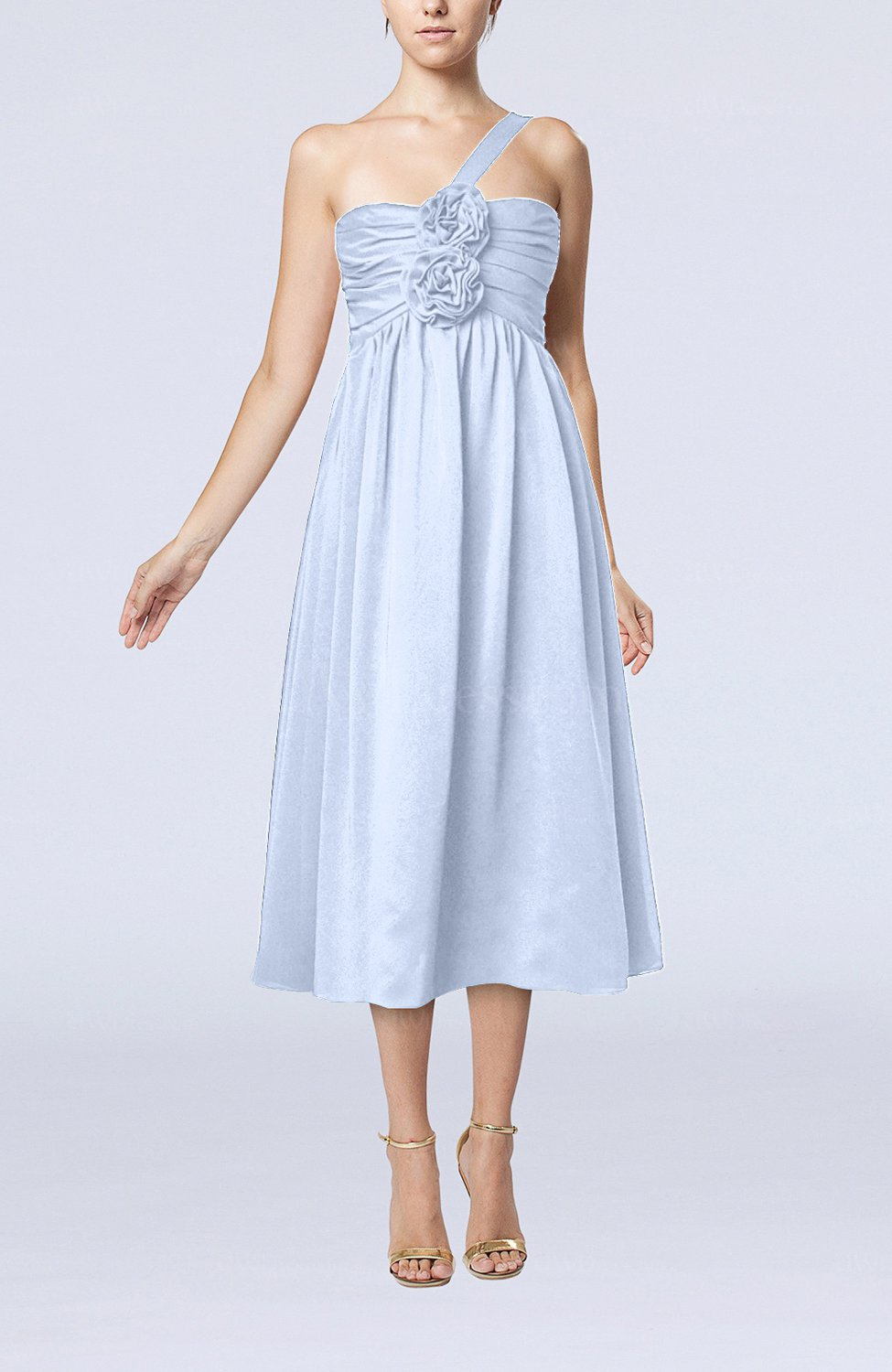 Lavender Casual One Shoulder Sleeveless Chiffon Pleated Wedding Guest Dresses