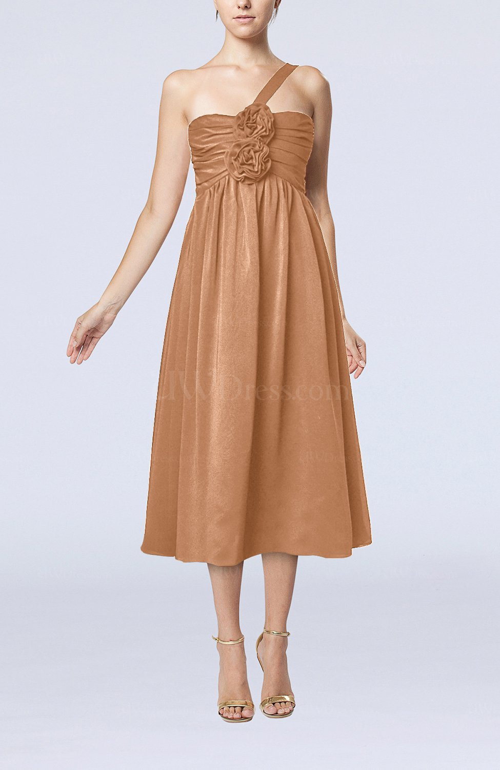 Light brown casual one shoulder sleeveless chiffon pleated for Brown dresses for wedding guest