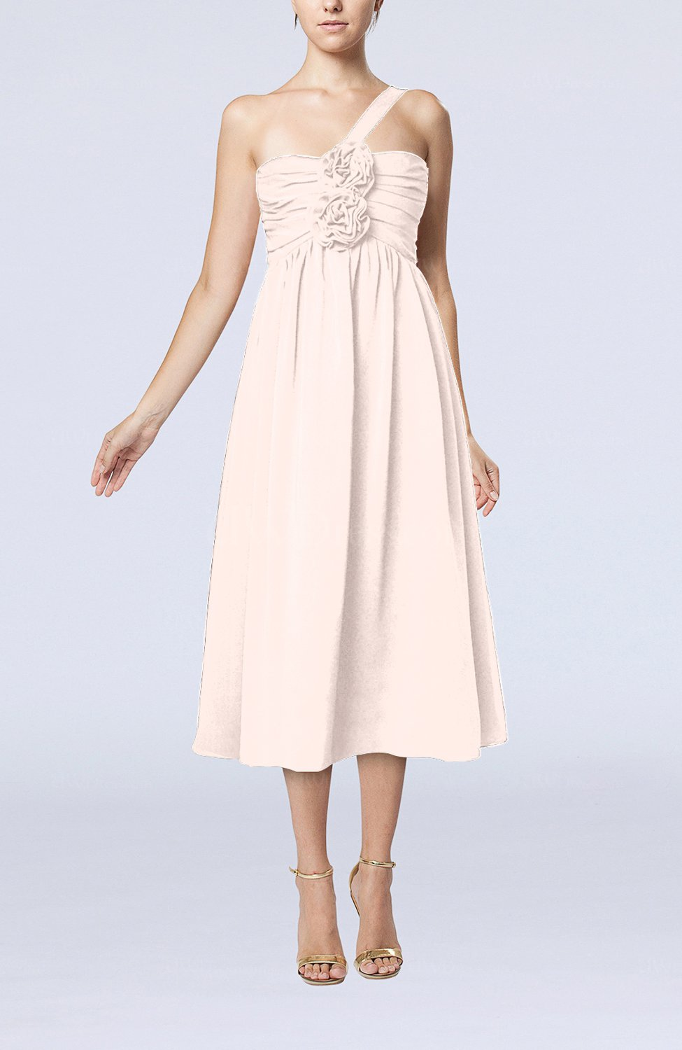 Light pink casual one shoulder sleeveless chiffon pleated for Light pink wedding guest dress