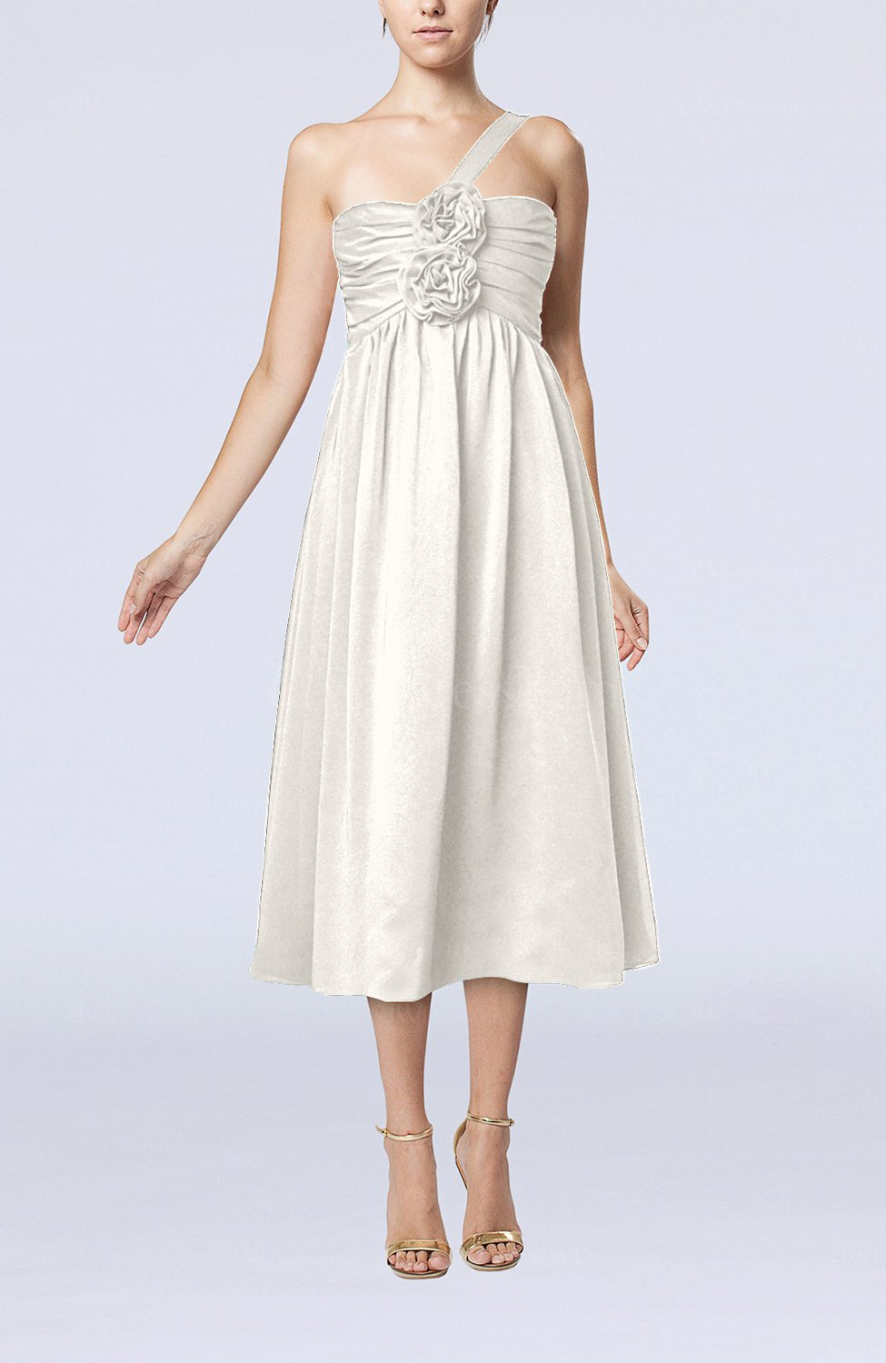 Off white casual one shoulder sleeveless chiffon pleated for One shoulder dress for wedding guest