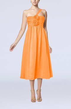 Orange Casual One Shoulder Sleeveless Chiffon Pleated Wedding Guest Dresses