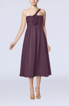 Plum Casual One Shoulder Sleeveless Chiffon Pleated Wedding Guest Dresses
