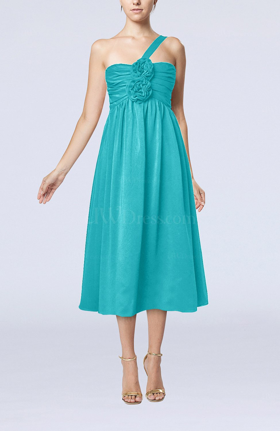 teal casual one shoulder sleeveless chiffon pleated