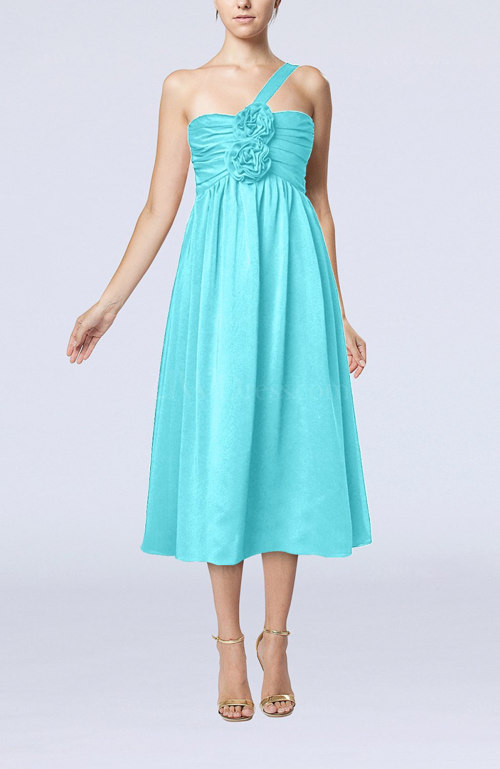Turquoise casual one shoulder sleeveless chiffon pleated for Turquoise wedding guest dress