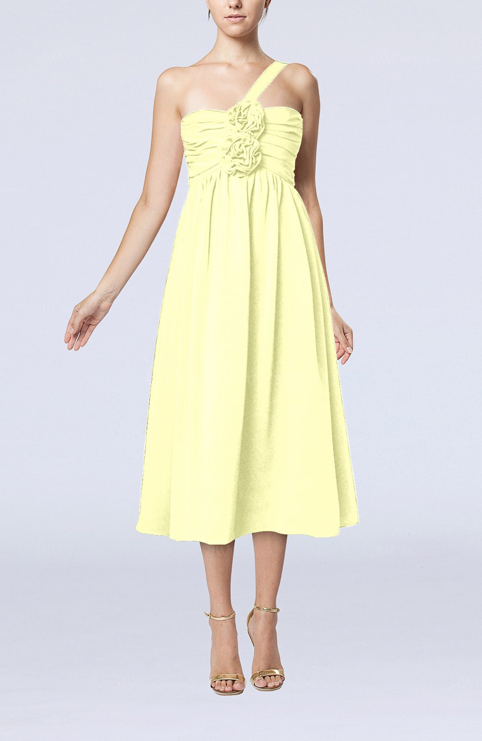 Wax yellow casual one shoulder sleeveless chiffon pleated for One shoulder dress for wedding guest